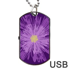 Purple Flower Floral Purple Flowers Dog Tag Usb Flash (two Sides) by Nexatart