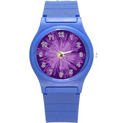 Purple Flower Floral Purple Flowers Round Plastic Sport Watch (s)