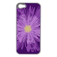 Purple Flower Floral Purple Flowers Apple Iphone 5 Case (silver)