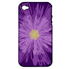 Purple Flower Floral Purple Flowers Apple Iphone 4/4s Hardshell Case (pc+silicone) by Nexatart