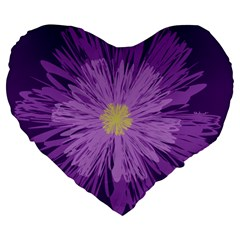 Purple Flower Floral Purple Flowers Large 19  Premium Heart Shape Cushions by Nexatart