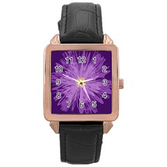 Purple Flower Floral Purple Flowers Rose Gold Leather Watch