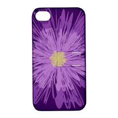Purple Flower Floral Purple Flowers Apple Iphone 4/4s Hardshell Case With Stand