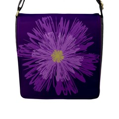 Purple Flower Floral Purple Flowers Flap Messenger Bag (l)