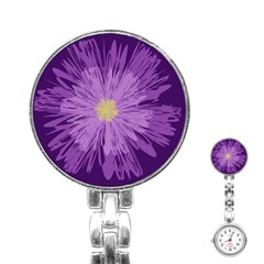 Purple Flower Floral Purple Flowers Stainless Steel Nurses Watch