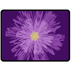 Purple Flower Floral Purple Flowers Double Sided Fleece Blanket (large)