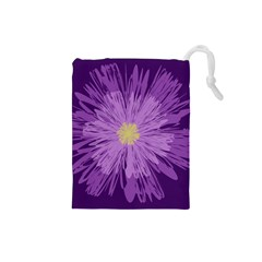 Purple Flower Floral Purple Flowers Drawstring Pouches (small)  by Nexatart