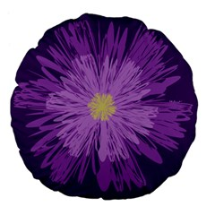 Purple Flower Floral Purple Flowers Large 18  Premium Flano Round Cushions by Nexatart