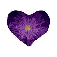 Purple Flower Floral Purple Flowers Standard 16  Premium Flano Heart Shape Cushions by Nexatart