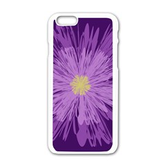 Purple Flower Floral Purple Flowers Apple Iphone 6/6s White Enamel Case by Nexatart