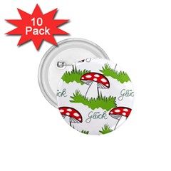 Mushroom Luck Fly Agaric Lucky Guy 1 75  Buttons (10 Pack)