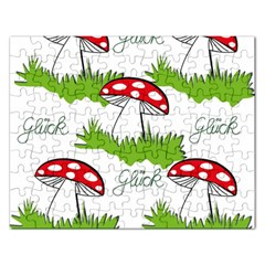 Mushroom Luck Fly Agaric Lucky Guy Rectangular Jigsaw Puzzl by Nexatart