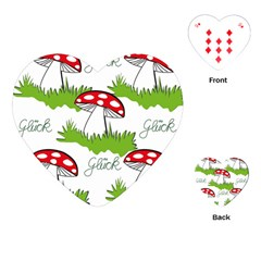 Mushroom Luck Fly Agaric Lucky Guy Playing Cards (heart)