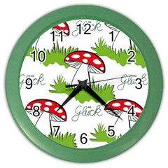 Mushroom Luck Fly Agaric Lucky Guy Color Wall Clocks by Nexatart