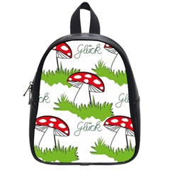 Mushroom Luck Fly Agaric Lucky Guy School Bags (small)  by Nexatart