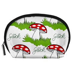 Mushroom Luck Fly Agaric Lucky Guy Accessory Pouches (large)  by Nexatart