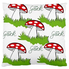 Mushroom Luck Fly Agaric Lucky Guy Large Flano Cushion Case (two Sides)