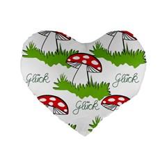 Mushroom Luck Fly Agaric Lucky Guy Standard 16  Premium Flano Heart Shape Cushions
