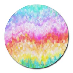 Rainbow Pontilism Background Round Mousepads by Nexatart