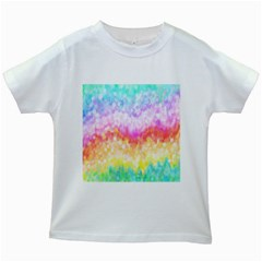 Rainbow Pontilism Background Kids White T Shirts