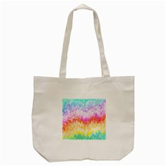 Rainbow Pontilism Background Tote Bag (cream)