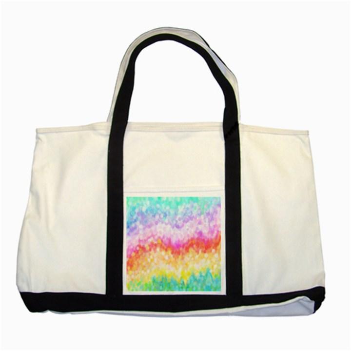 Rainbow Pontilism Background Two Tone Tote Bag