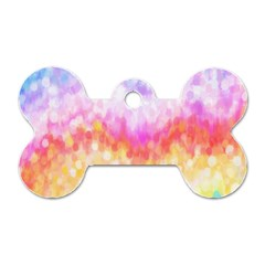 Rainbow Pontilism Background Dog Tag Bone (two Sides)