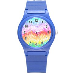 Rainbow Pontilism Background Round Plastic Sport Watch (s) by Nexatart