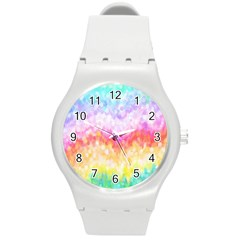 Rainbow Pontilism Background Round Plastic Sport Watch (m) by Nexatart