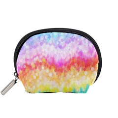 Rainbow Pontilism Background Accessory Pouches (small)  by Nexatart