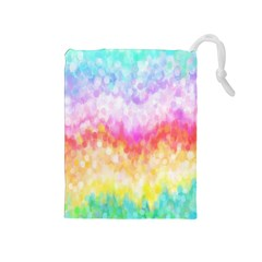 Rainbow Pontilism Background Drawstring Pouches (medium)  by Nexatart