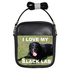 Black Lab Love W Pic Girls Sling Bags by TailWags