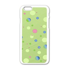 Decorative Dots Pattern Apple Iphone 6/6s White Enamel Case by ValentinaDesign