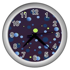 Decorative Dots Pattern Wall Clocks (silver)  by ValentinaDesign