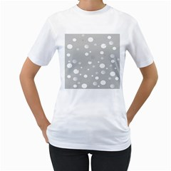 Decorative Dots Pattern Women s T Shirt (white) (two Sided) by ValentinaDesign