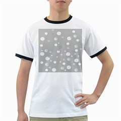 Decorative Dots Pattern Ringer T Shirts by ValentinaDesign