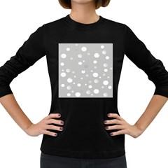 Decorative Dots Pattern Women s Long Sleeve Dark T Shirts by ValentinaDesign