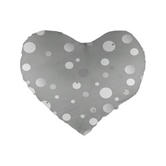 Decorative Dots Pattern Standard 16  Premium Heart Shape Cushions by ValentinaDesign