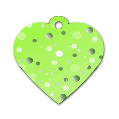 Decorative Dots Pattern Dog Tag Heart (one Side) by ValentinaDesign