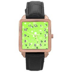 Decorative Dots Pattern Rose Gold Leather Watch  by ValentinaDesign