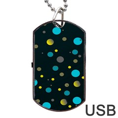 Decorative Dots Pattern Dog Tag Usb Flash (one Side) by ValentinaDesign