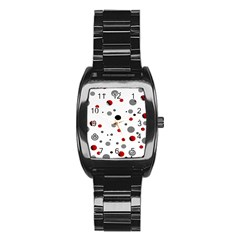 Decorative Dots Pattern Stainless Steel Barrel Watch by ValentinaDesign