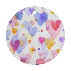 Watercolor Cute Hearts Background Ornament (round) by TastefulDesigns