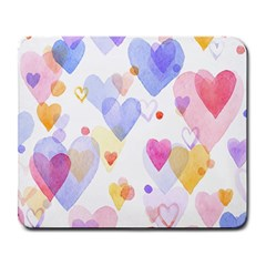 Watercolor Cute Hearts Background Large Mousepads by TastefulDesigns