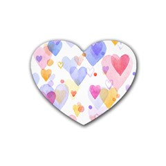 Watercolor Cute Hearts Background Rubber Coaster (heart)  by TastefulDesigns