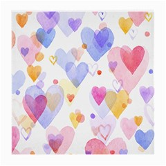 Watercolor Cute Hearts Background Medium Glasses Cloth by TastefulDesigns
