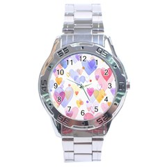 Watercolor Cute Hearts Background Stainless Steel Analogue Watch by TastefulDesigns