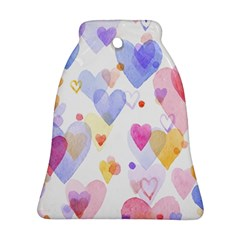 Watercolor Cute Hearts Background Ornament (bell) by TastefulDesigns