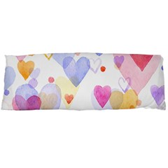 Watercolor Cute Hearts Background Body Pillow Case Dakimakura (two Sides) by TastefulDesigns