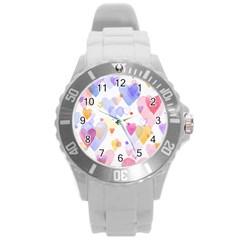 Watercolor Cute Hearts Background Round Plastic Sport Watch (l) by TastefulDesigns